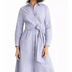 J crew periwinkle shirt dress with tie